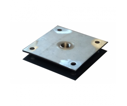 Bevestigingsplaatje RVS 9x9 cm + tap M16