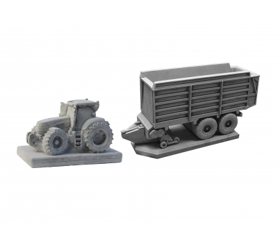 Tractor Case + opraapwagen