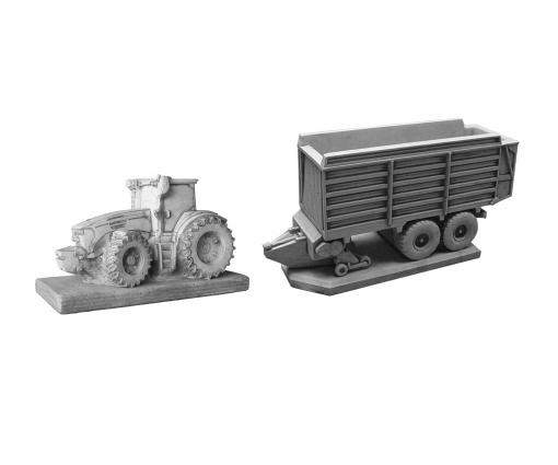 Tractor John Deere + opraapwagen