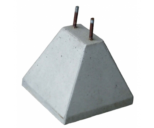 Betonpoer 8x15x25 cm met 2x draadeind M12