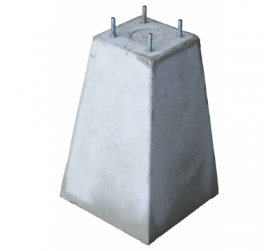 Poer 35 cm hoog + 4x draadeind M10