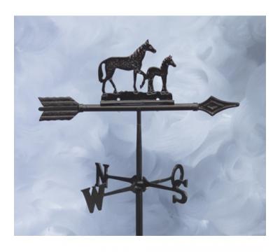 Windwijzer paard+veulen aluminium, pijl 45cm