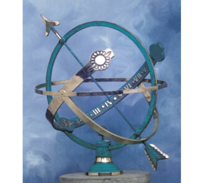Zonnewijzer Globe messing blauw Ø45cm